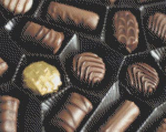 Box of Chocolates, Box of Chocolate Covered Bon Bons, Sweet Treats, Sugary Goodness, Cocoa Bliss Counted Cross Stitch Pattern
