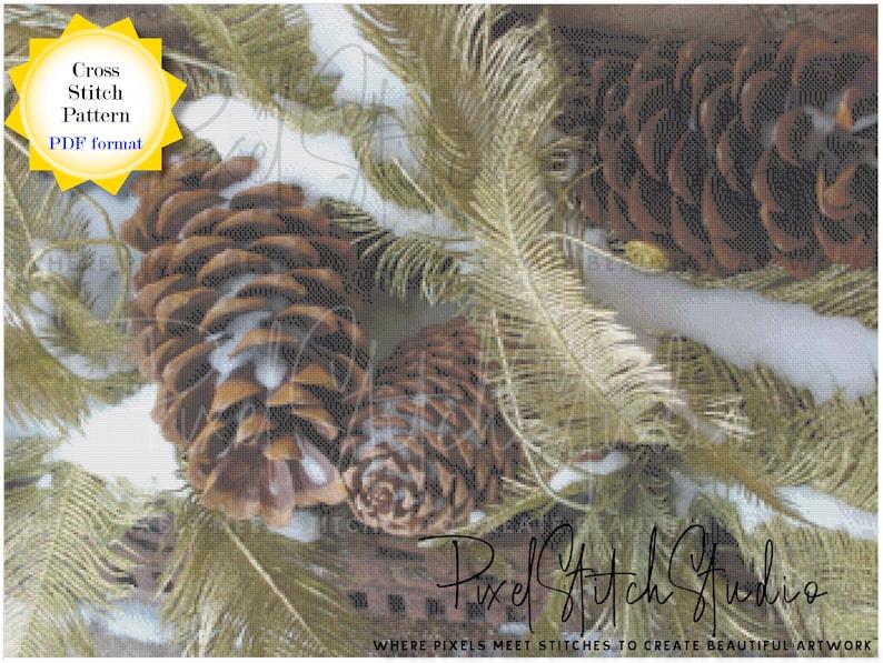 Evergreens and Pine Cones Cross Stitch Pattern Digital image 1
