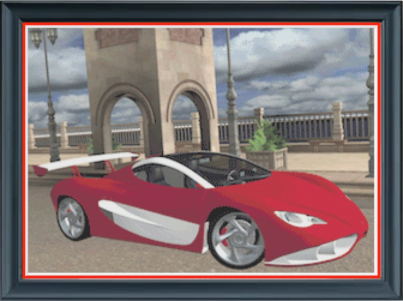 Red Sports Car Sexy Luxury Car Counted Cross Stitch Pattern image 0