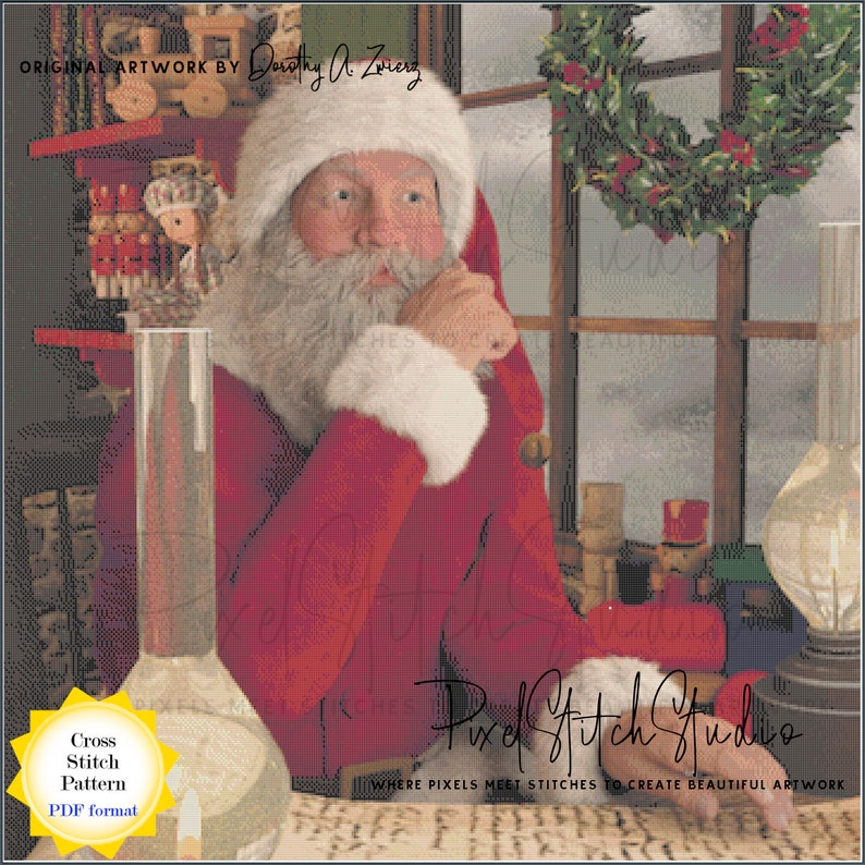 Santa Checking His List Digital Cross Stitch Pattern  image 1