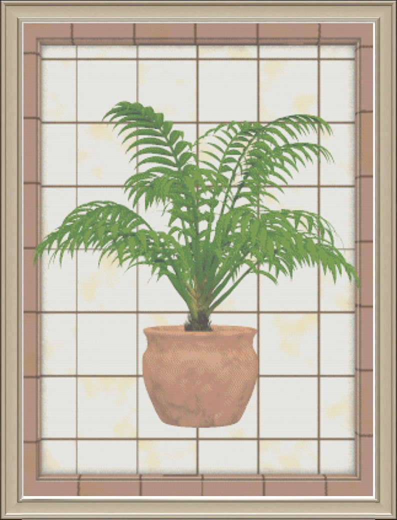 Potted Palm Against A Tile Background Tropical Planter Green image 0