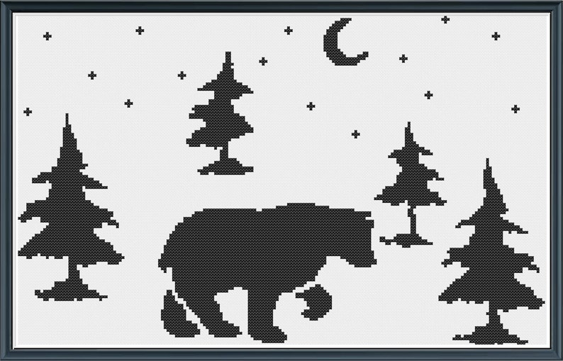 Silhouette Bear in the Nighttime Woods Simple Black and White image 0