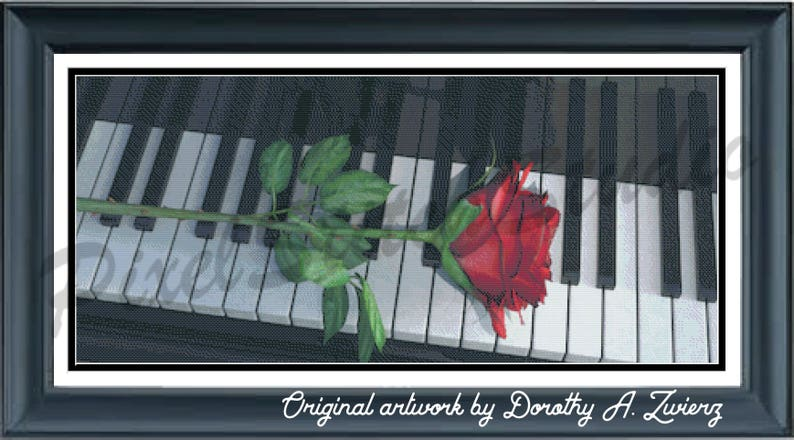 Rose on a Piano Musical Love Story Romance Music and Red image 0