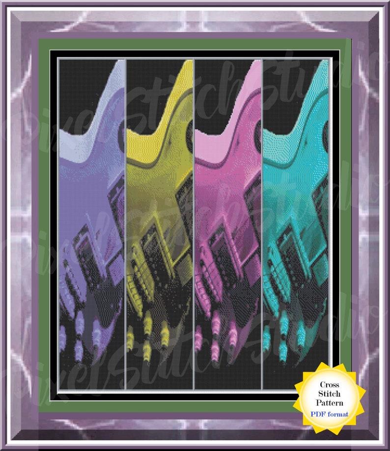 A Study of Colorful Guitars Cross Stitch Pattern  Colorized image 0