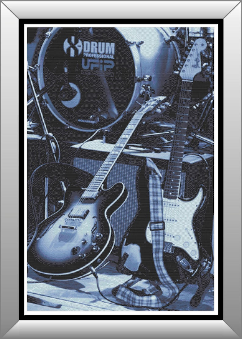Rock N Roll Forever Guitars and Drums in Gray Scale Rock and image 1