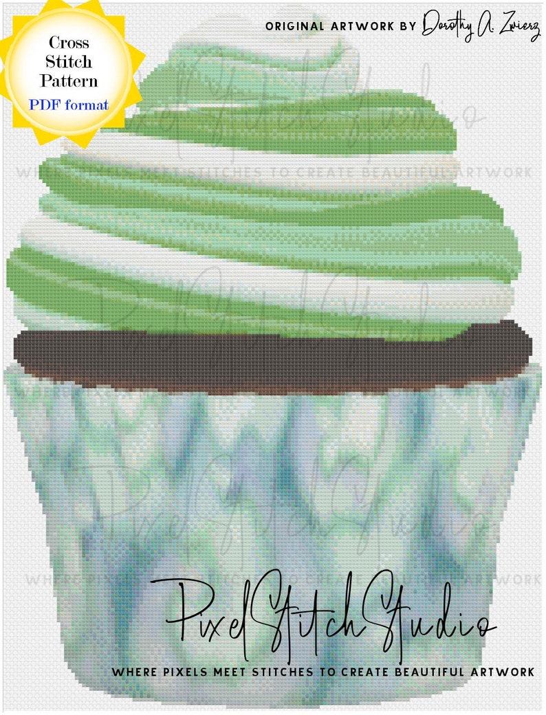 Green Swirl Cupcake Cross Stitch Pattern  Spring Cupcake image 1