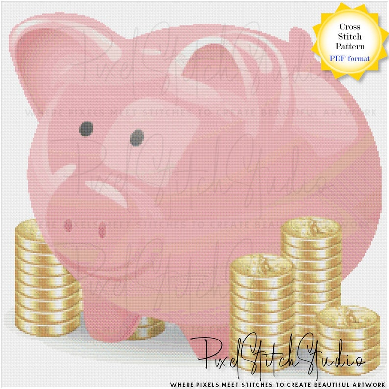 Piggy Bank With Coins Cross Stitch Pattern Digital Download image 1