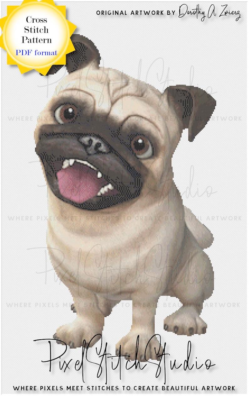 Pugnacious Digital Cross Stitch Pattern  Cute Pug Dog Digital image 0