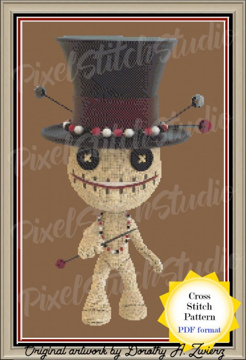 Voodoo Doll Digital Cross Stitch Pattern  Samedi Doll in Top image 0