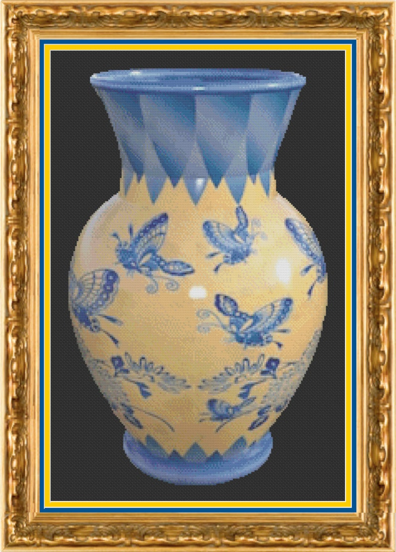 Chinese Vase Cross Stitch Pattern  Oriental Vase Cross Stitch image 1