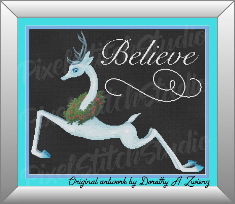 Elegant Blue Reindeer with Holly Wreath Believe in Christmas image 0