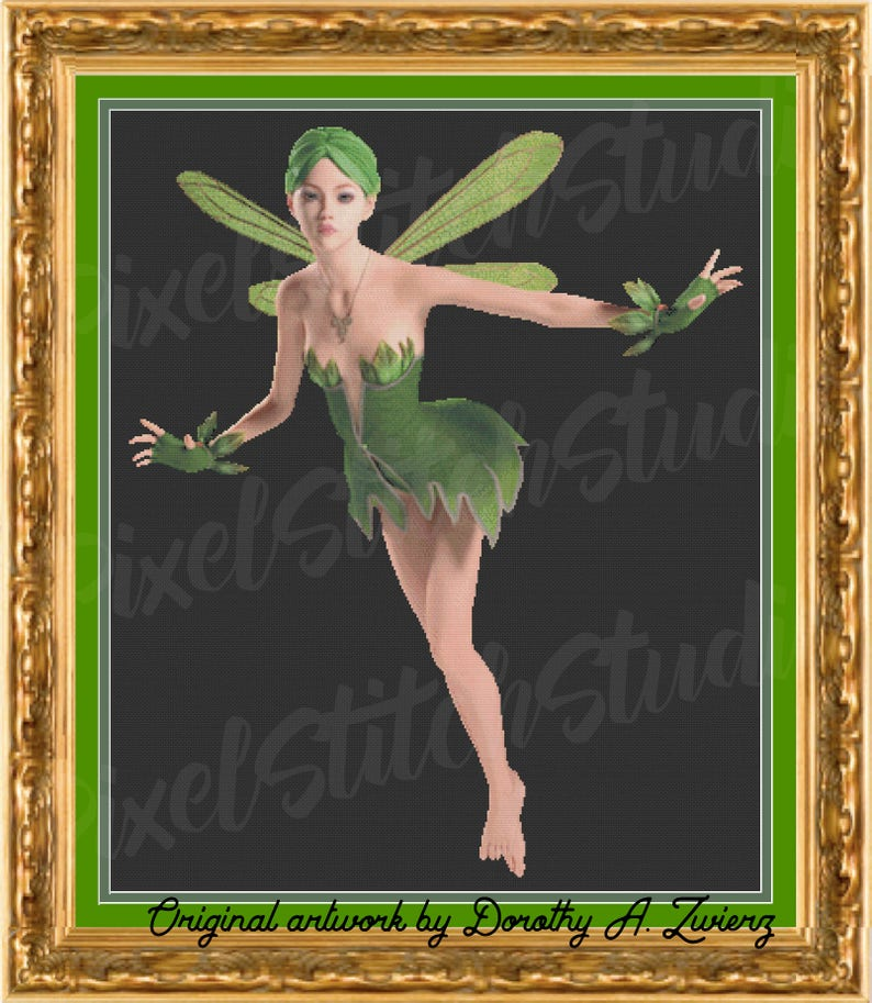 Green Fairy Forest Sprite Impish Pixie Lovely Lady Instant image 0