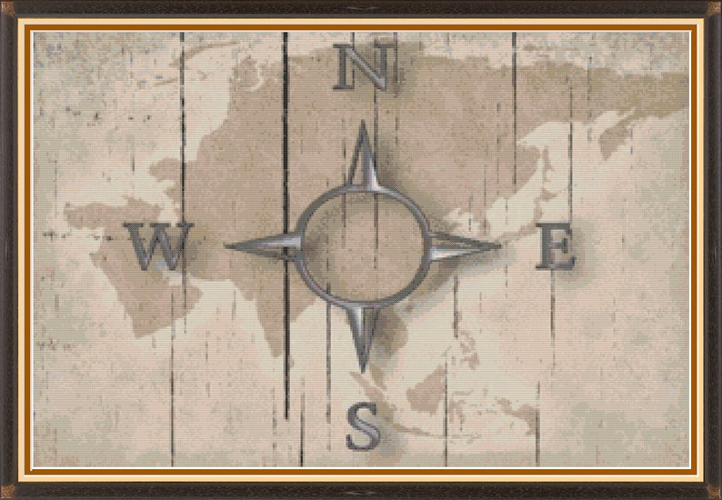 Compass on a Wooden Map Cross Stitch Pattern image 0