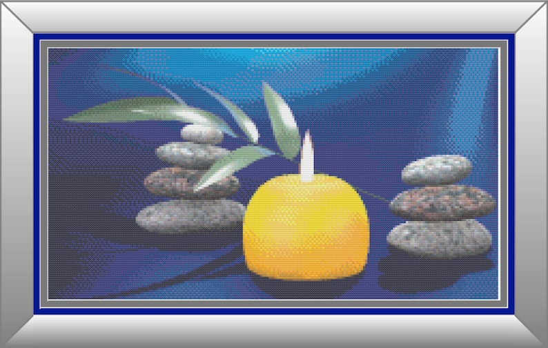 Zen Meditation Inspired Counted Cross Stitch Pattern image 0