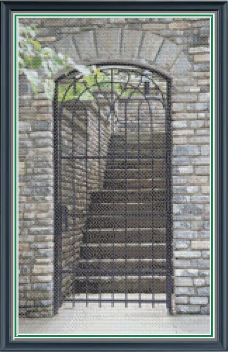 Medieval Gate and Staircase Counted Cross Stitch Pattern  image 0