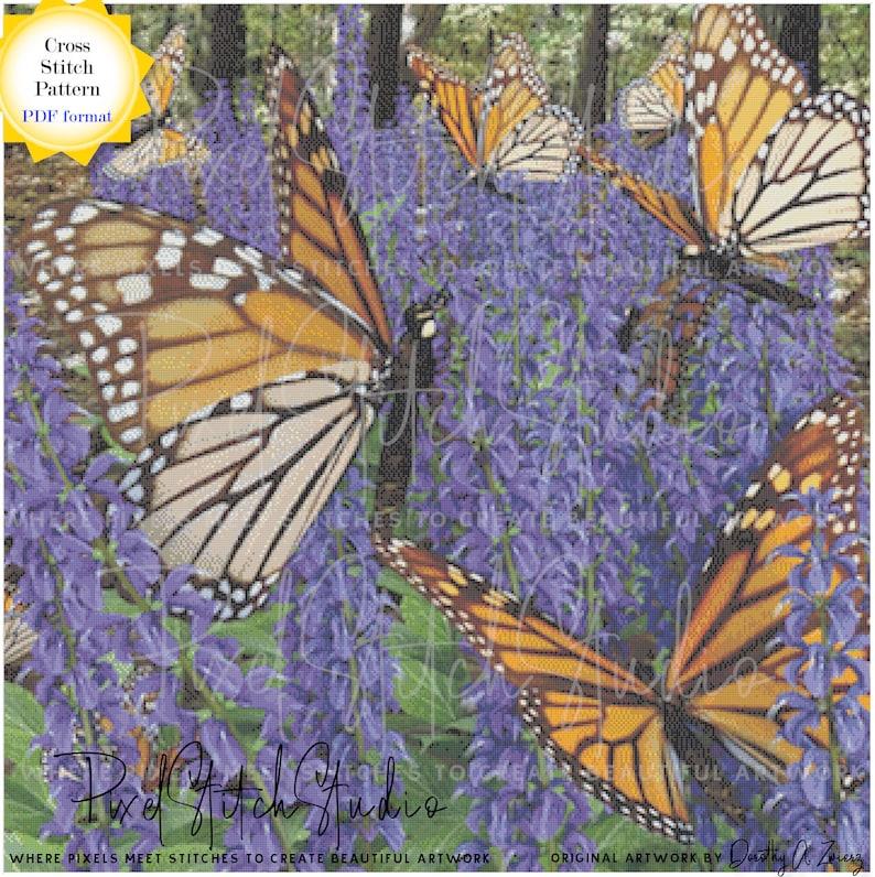 Monarchs Among the Lavender Digital Cross Stitch Pattern  image 0