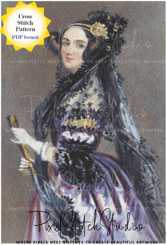 Ada Lovelace Cross Stitch Pattern  First Female Programmer image 0