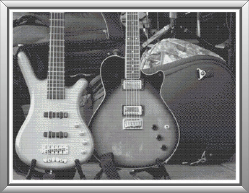 A Pair of Guitars in Grayscale Cross Stitch Pattern image 0