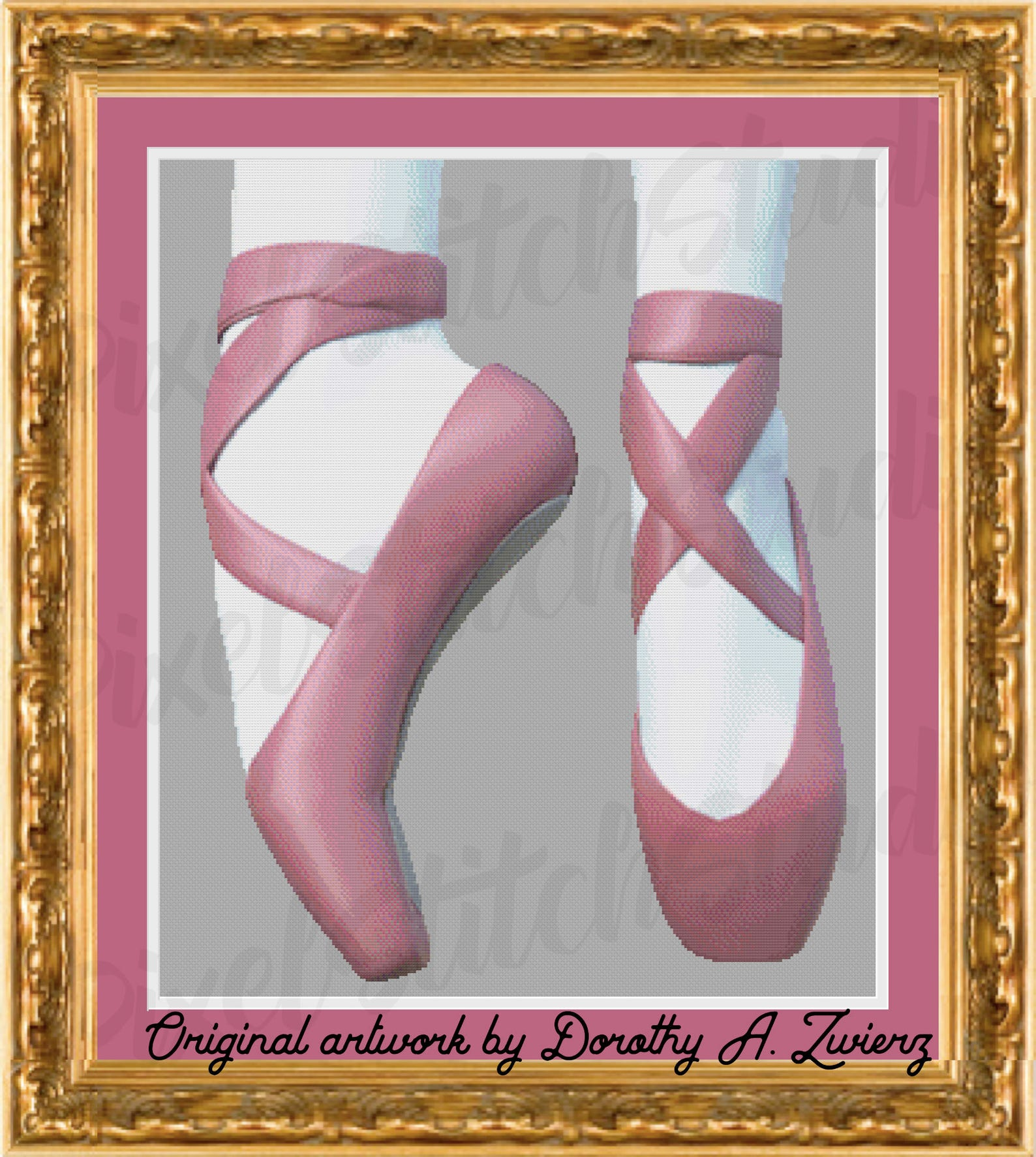 ballet slippers, pink dancing shoes, up on your toes, classic ballerina instant digital download counted cross stitch pattern