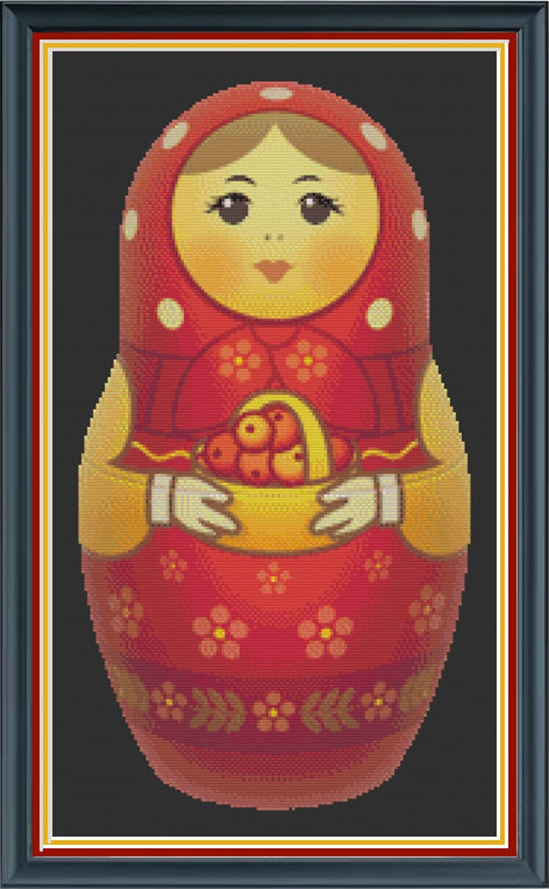 Matryoshka Cross Stitch Pattern  Polish Nesting Doll Cross image 0