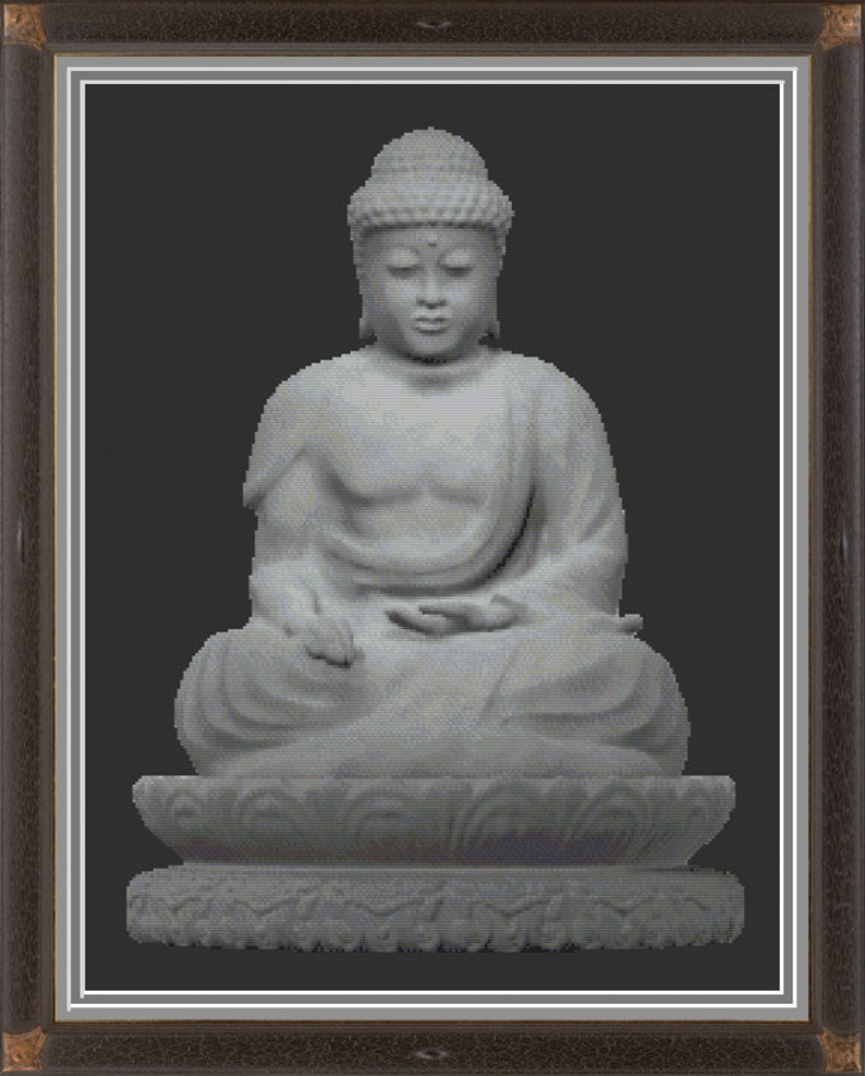 Stone Buddha Mystical Sacred Statue of Buddhism Cross Stitch image 0