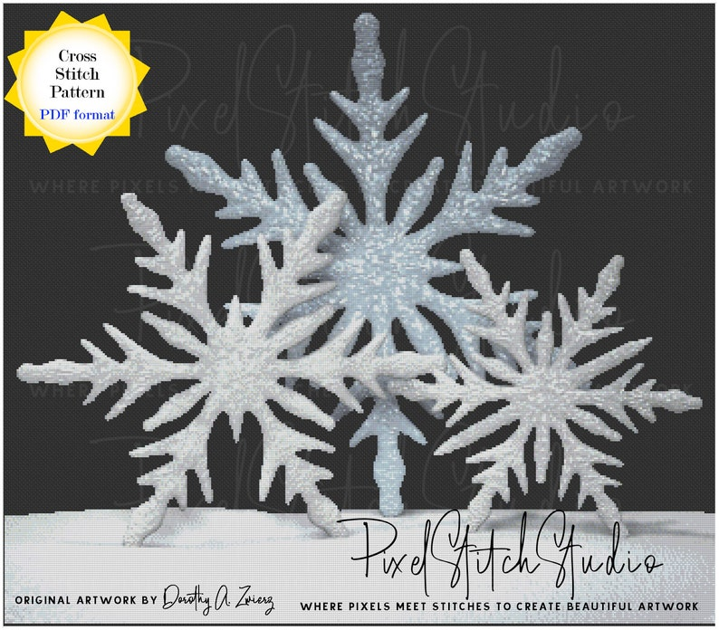 Snowflake Trio Counted Cross Stitch Pattern  Winter Snow image 1