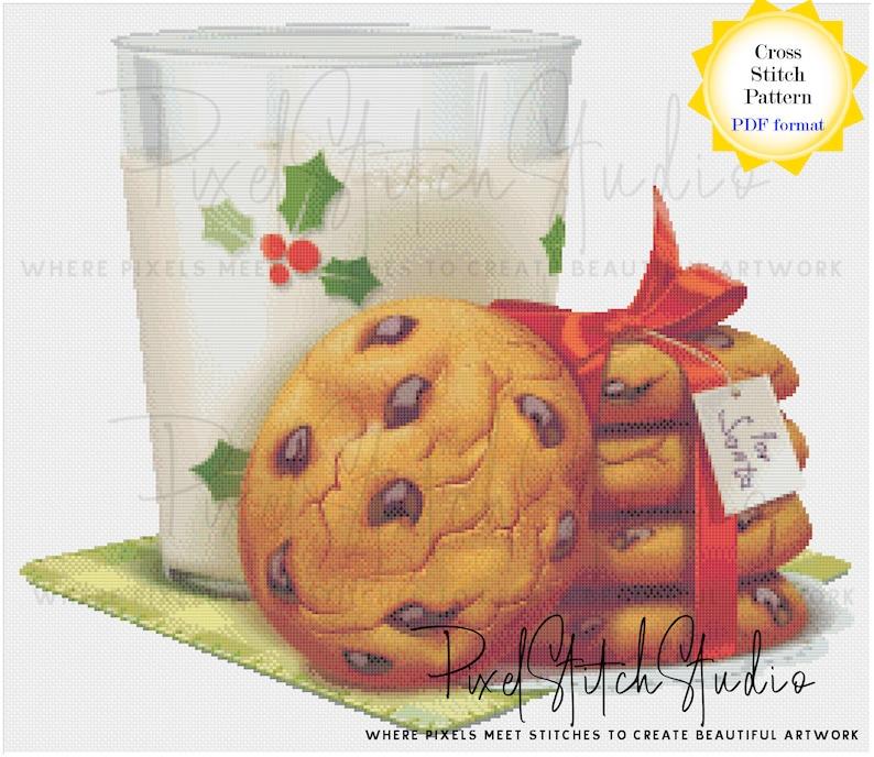 Santa's Milk and Cookies Cross Stitch Pattern  Christmas image 0