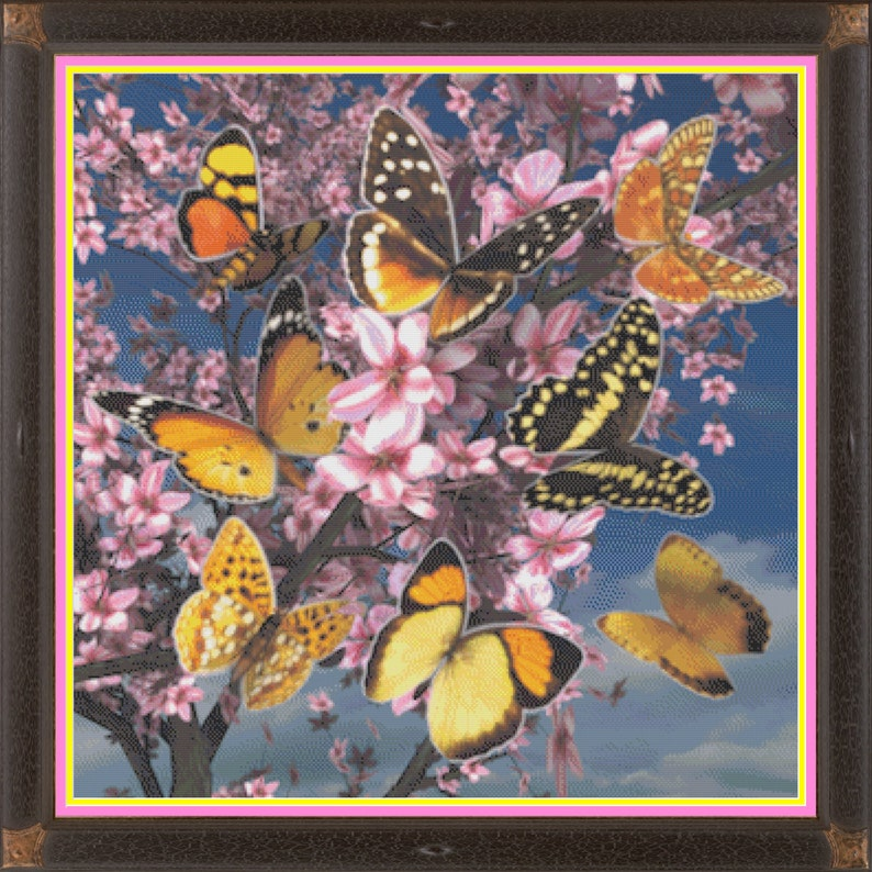 Butterflies and Cherry Blossoms Springtime in Bloom Counted image 0