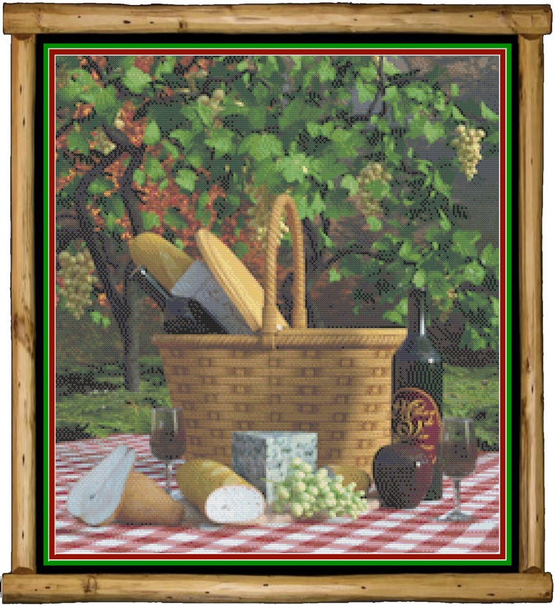 Picnic in the Vineyard Counted Cross Stitch Pattern image 1
