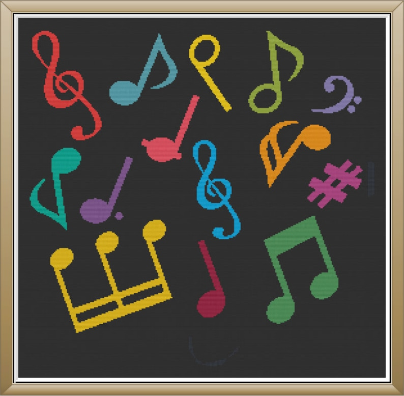 Colorful Music Note Jumble Rainbow Musical Montage Simple image 0