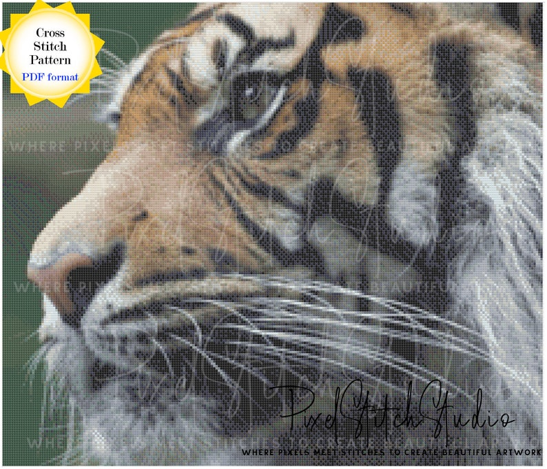 Tiger in Profile Cross Stitch Pattern  Face of a Tiger Cross image 1