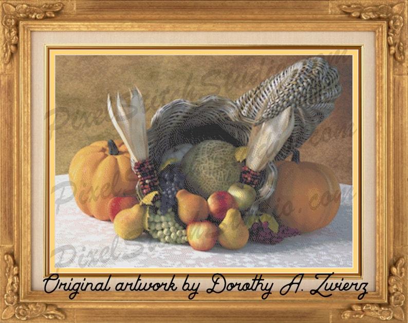 Thanksgiving Cornucopia Bountiful Blessings Pumpkins Indian image 1