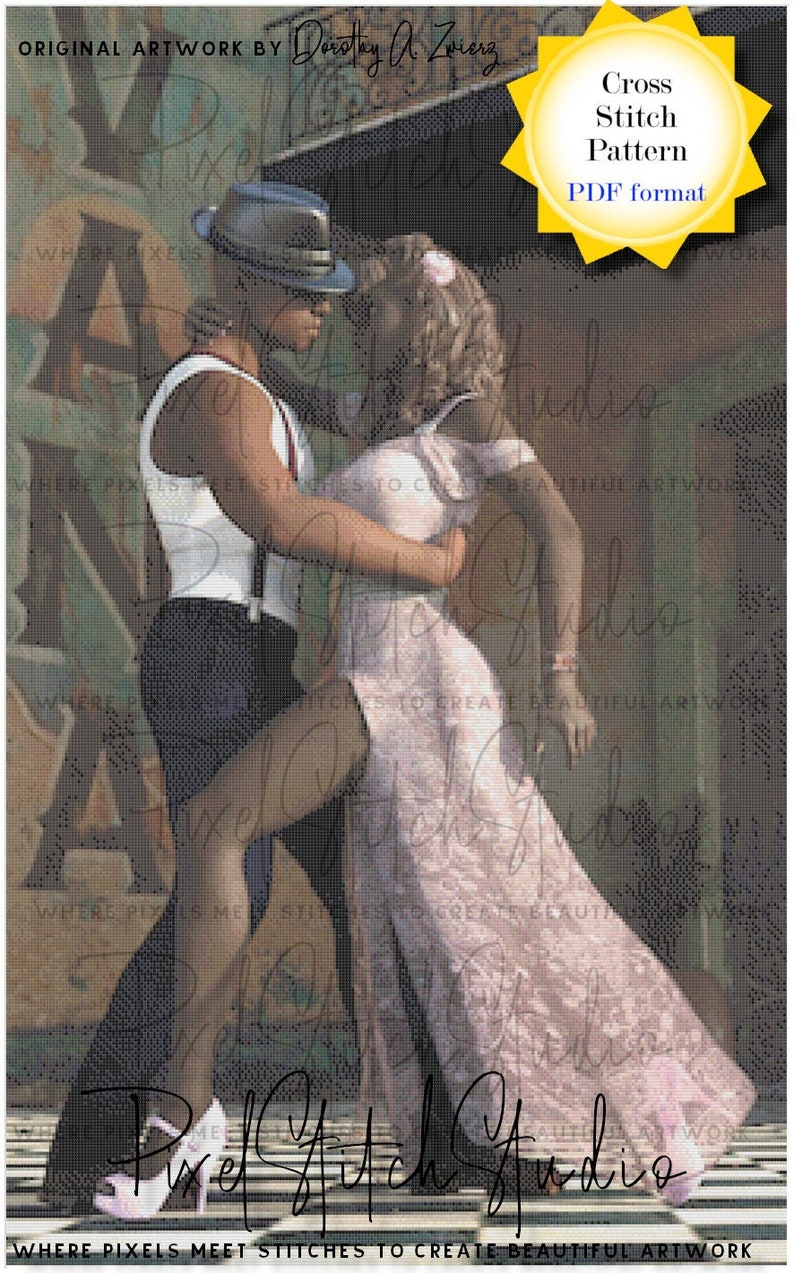 Visions of Tango Counted Cross Stitch Pattern  Sultry Dancing image 1
