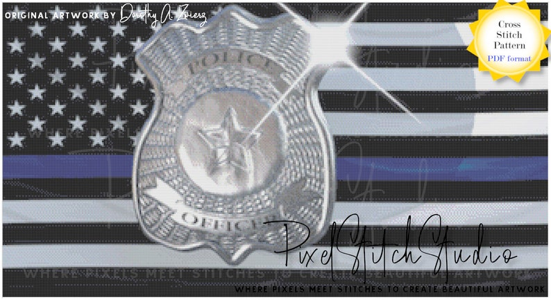 Thin Blue Line Flag with Badge Cross Stitch Pattern   Tribute image 0