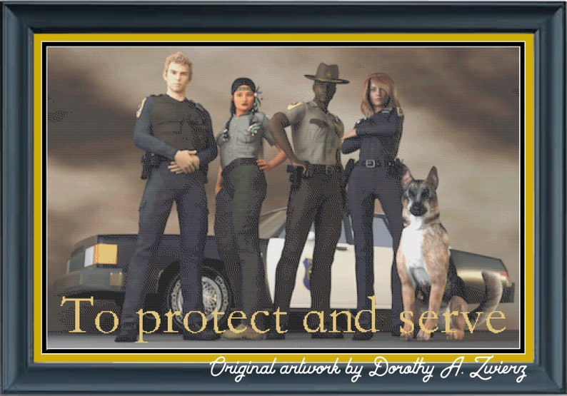 Law Enforcement Tribute Protect and Serve Police Forest image 0