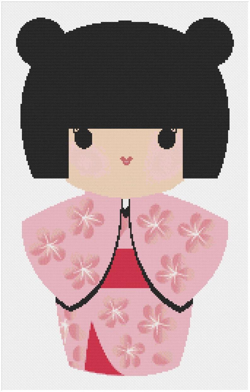 Cute Japanese Doll with Sakura Blossom Kimono Cherry Blossom image 0