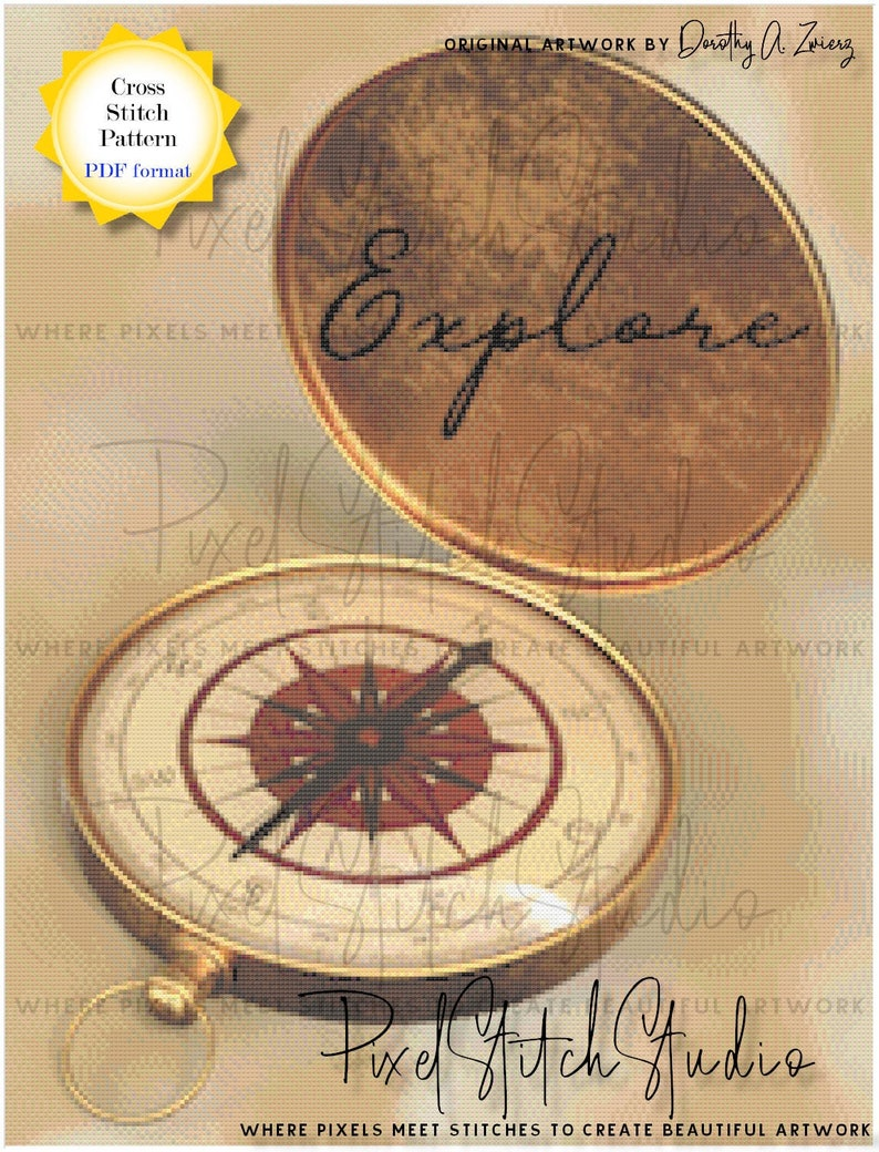 Exploration Starts With A Compass Counted Cross Stitch Pattern image 1