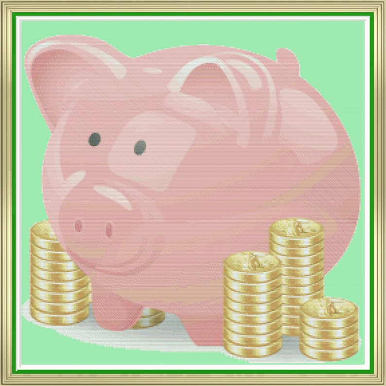 Pink Piggy Bank With Coins Little Pig Nursery Room Picture image 0