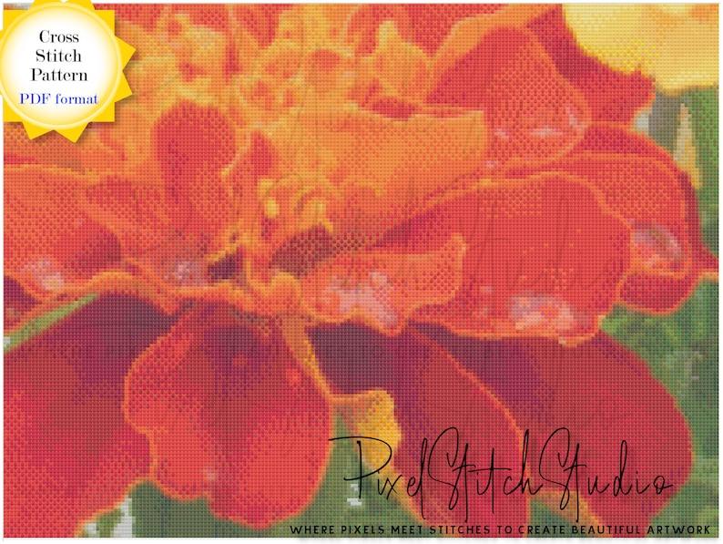 Bright Orange Dahlia Cross Stitch Pattern DIGITAL  Bright image 0