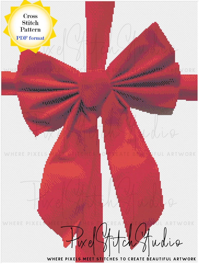 Wrapped with a Red Bow Cross Stitch Pattern  Christmas image 1