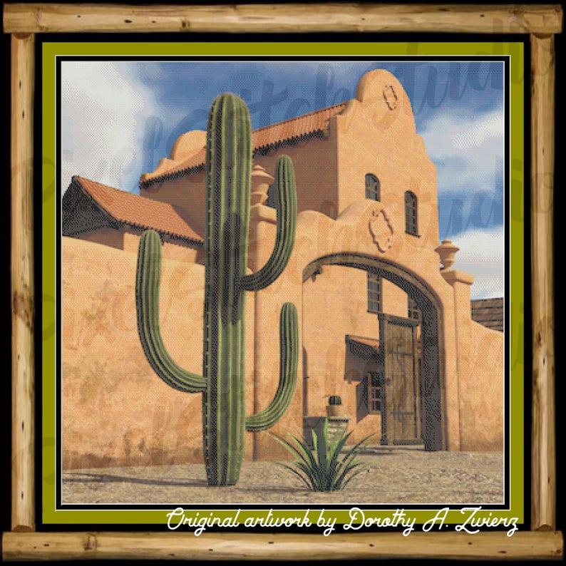 The Desert Villa Cactus and Adobe Home Southwest Scene image 0