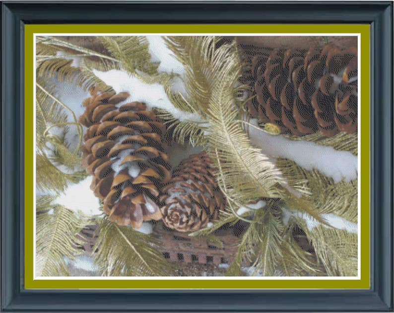 Evergreens and Pine Cones Winter Greenery Woodland Snowy image 0