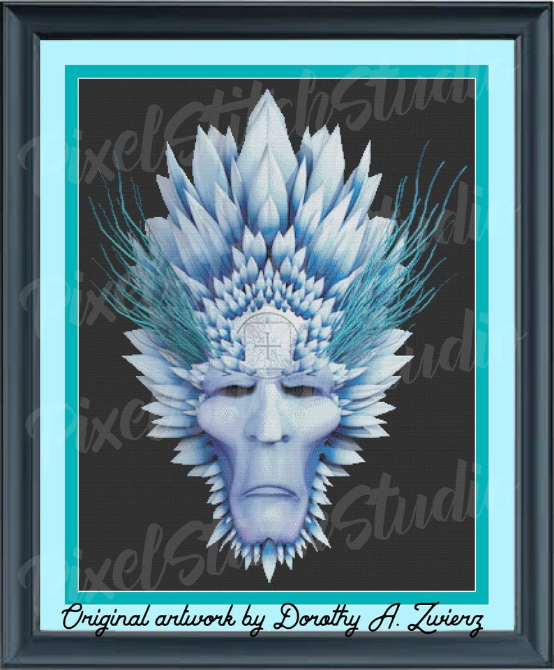 Ice Elemental Icy Demon Face Encased in Ice Shards image 1