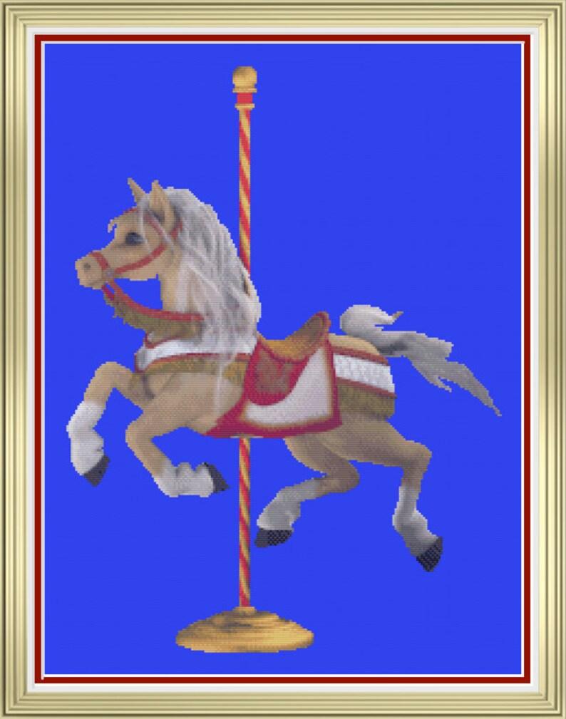 Carousel Horse Palomino Steed Ride Single Merry-Go-Round image 0