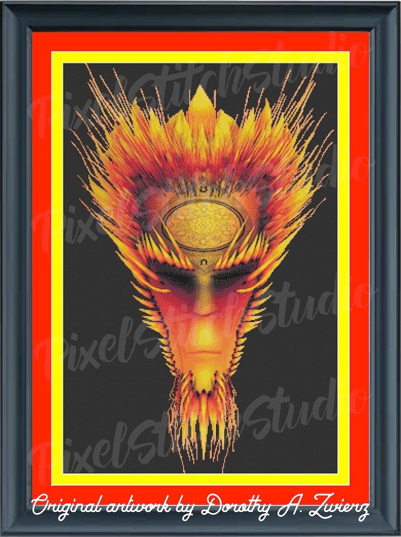 Fire Elemental Fiery Demon Flaming Face Halloween Digital image 0