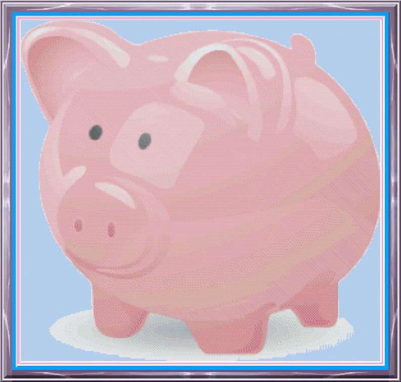 Pink Piggy Bank Little Pig Nursery Room Picture Baby's image 0