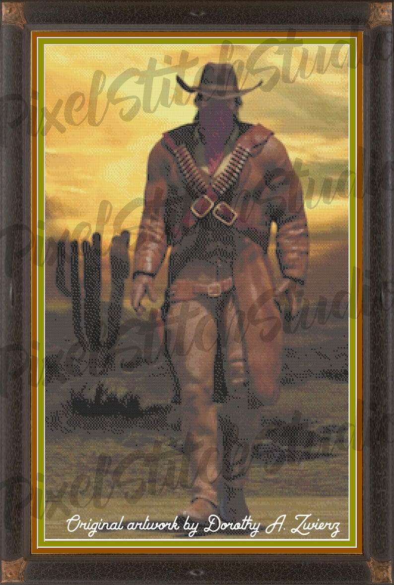 Cowboy Outlaw Lawman Wild West Man of Mystery Counted Cross image 0