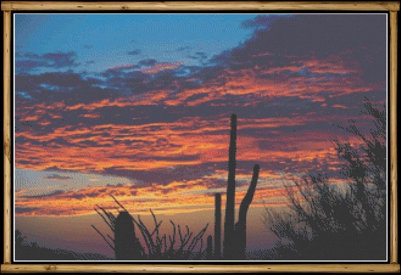 Southwest Desert at Sunset with Cacti Cross Stitch Pattern image 0