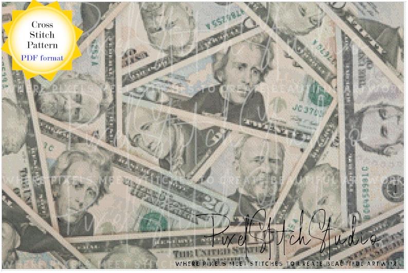American Dollars Cross Stitch Pattern  Pile of Money Cross image 1