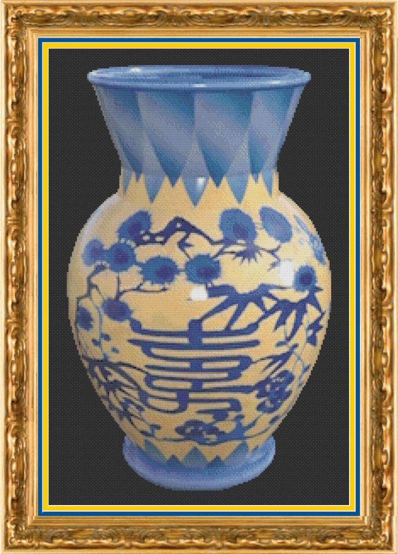 Chinese Vase Cross Stitch Pattern  Oriental Vase Cross Stitch image 0